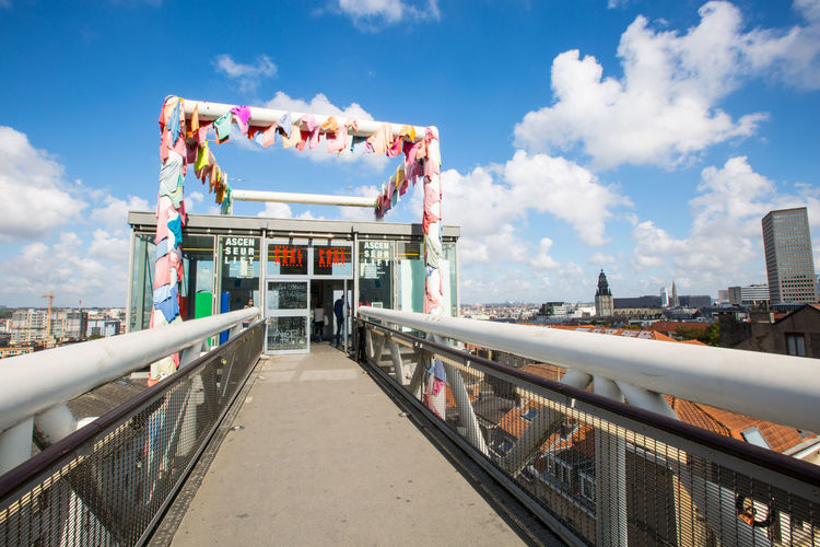 Marolles panorama lift Belgium Brussels Marolles Panoramic Lift Amusement Park Amusement Park Ride Architecture Arts Culture And Entertainment Bridge Building Exterior Built Structure City Cloud - Sky Connection Day Incidental People Metal Nature Outdoors Railing Sky Sunlight Transportation Travel