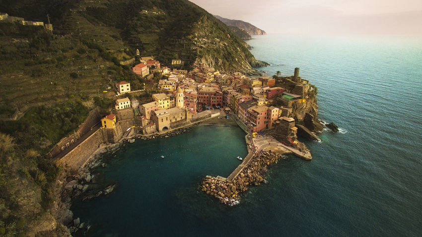 Cinque Terre Drone  Mediterranean  Architecture Drone Photography High Angle View Italy Mountain Nature Outdoors Scenics - Nature Sea Tranquility Travel Destinations Water Waterfront