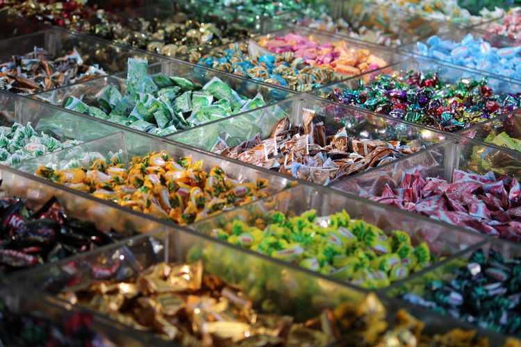 Various candies in store for sale