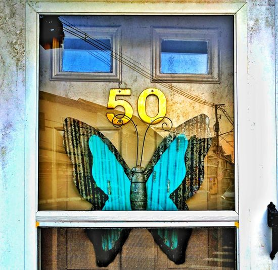 Door Close-up Outdoors Building Exterior Doors Fifty Numbers Butterfly Reflection Reflections
