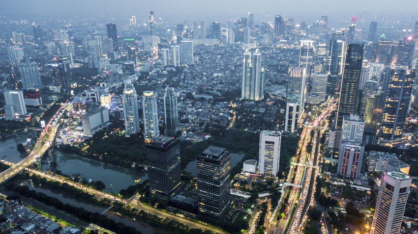 Jakarta Aerial View Architecture Building Building Exterior Built Structure City City Life Cityscape Downtown District Financial District  High Angle View Landscape Modern Nature No People Office Building Exterior Outdoors Residential District Skyscraper Transportation Travel Destinations Urban Skyline