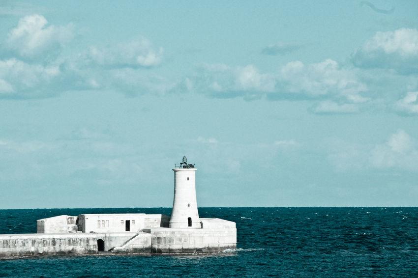 Malta Breakwater Sea Open Water Blue Lighthouse