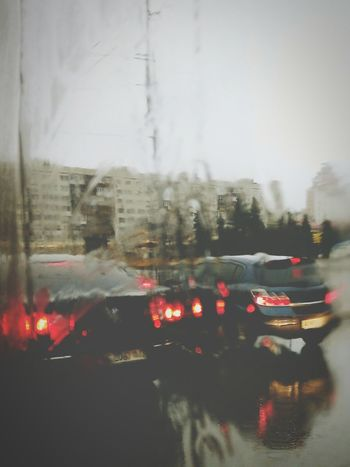Inlove with rain! In City Rain Road Driveway Rainy Days Rainy Day Rainy Weather Look Through The Window Red Lights Sidelight Rainy Mood Showing Imperfection