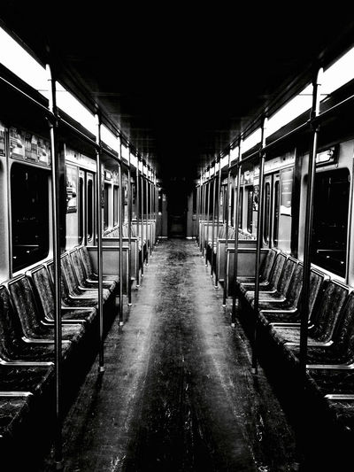 Day Empty Illuminated Indoors  Mode Of Transport No People Public Transportation Rail Transportation Subway Train Train - Vehicle Transportation Vehicle Seat Window The Street Photographer - 2017 EyeEm Awards Black And White Friday