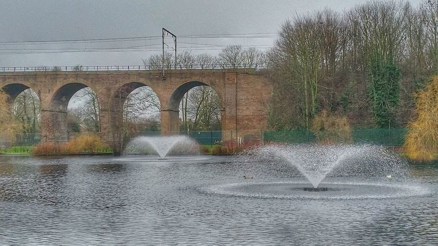 Viaduct Water At The Park Arched Arches Water Feature Landscapes Water Fountain Autumn Colors Autumn Colours Railway Chelmsford Urban Landscape