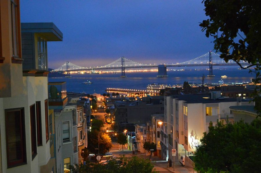 An evening view of the Oakland bridge San Francisco Oakland Bay Bridge Evening Street Photography Hilltop View Up Close Street Photography