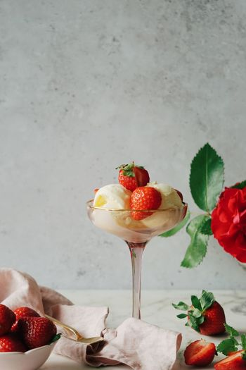 Close-up of strawberry served on table