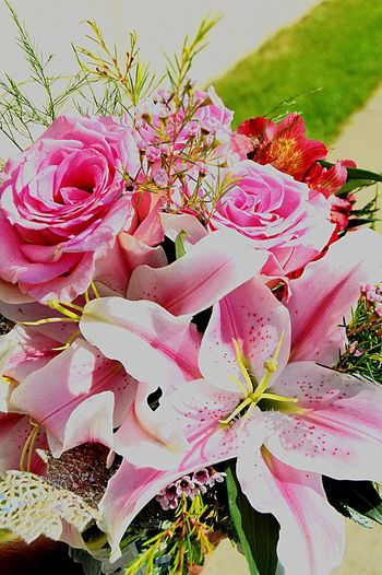 Flowers Flower Roses Pink Rose Prom Sun Sunny Day Beautiful Day Prom Night Prom 2015 Having Fun :) Pretty Pink Flowers Pink Flower Prom Day Prom Day Bouquet Light Dark Pink