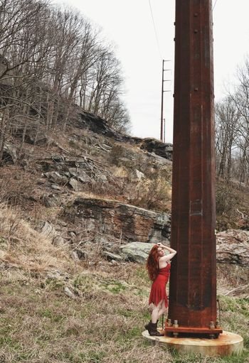 Curvature Trees Trees And Sky Mountain Pole Power Lines Rust Red Dress Woman Redhead Standing Full Length Sky