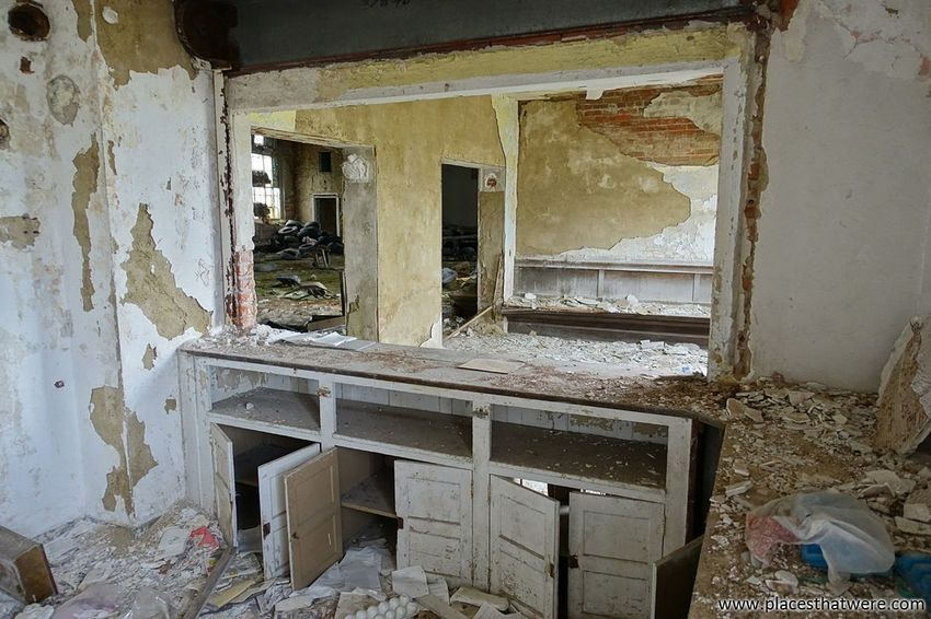 www.placesthatwere.com Water Damage Window Abandoned Places Architecture Old Ruin Urban Exploration Rust Belt Masonic Temple Abandoned Building Creepy Urbex Abandoned Buildings Ruins Urban Decay Eerie Abandoned & Derelict Abandoned Ohio Architecture Rotting Weathered Damaged Decay Cabinet Counter Countertop