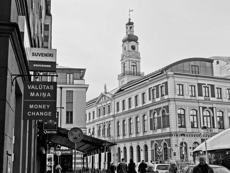 Latvia Riga Vecriga Black & White Taking Photos