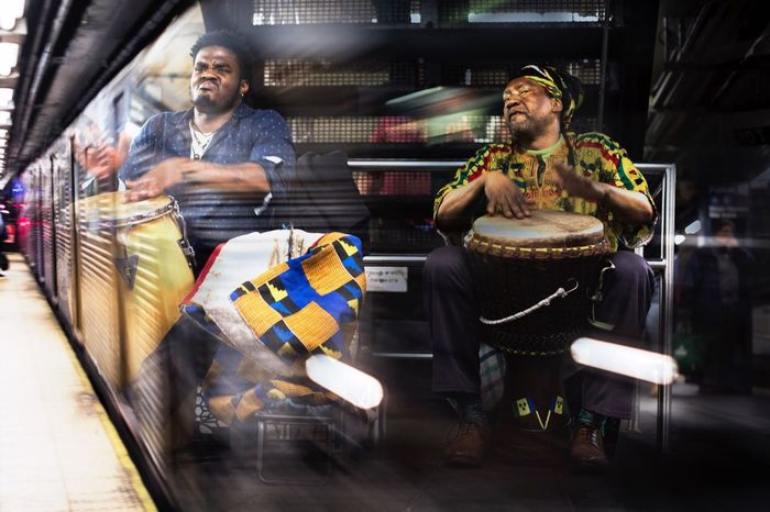 New York Beats. Subway musicians are sooo powerful! Subway Music Subwayphotography Subway People Men Musical Instrument Percussion Powerful