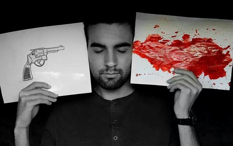 Photography Photoshop Pic Model Me Black And White B&w Gun Draw Blood