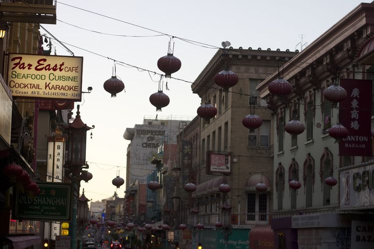 On the hunt for Chinese cookies, but this view is so pretty. Architecture Bay Bayarea Building Exterior Calm Chinatown Calculations Chinese Lantern City Day Outdoors Paper Lantern Sanfrancisco Sky