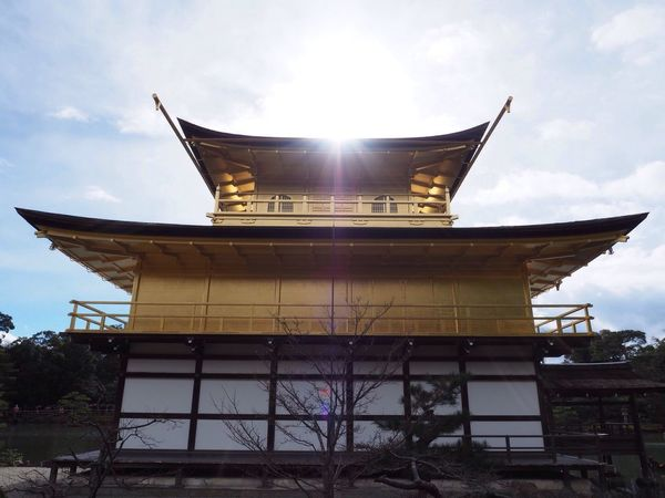 Kyoto Japan Kinkakuji Kinkakuji Temple Temple Otherside Rokuon-ji Golden Sun Beautiful Sky Winter Olympus PEN-F 京都 日本 金閣寺 鹿苑寺 寺 太陽 空 裏側 かっこいい 冬