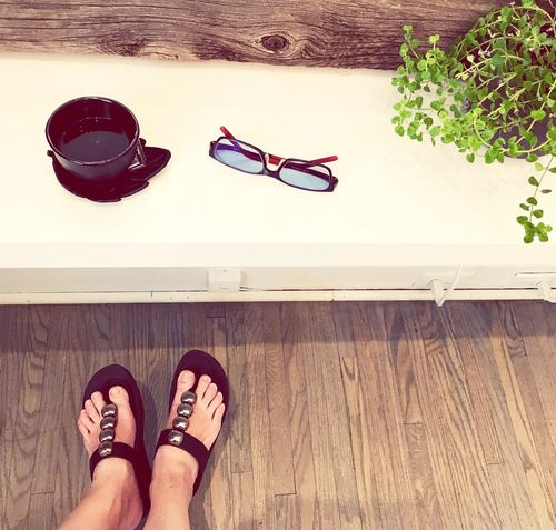 Summer ! Sunglases Shoe Body Part Personal Perspective Flooring Hardwood Floor Sandal High Angle View