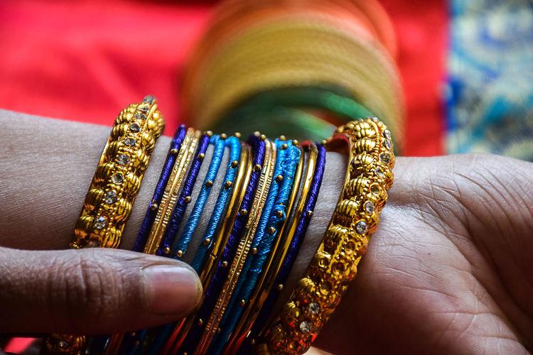 Close-up of woman wearing bangle