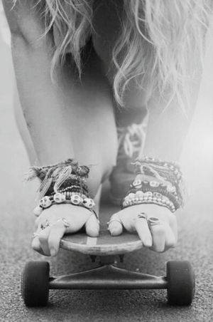 Skateboarding Sexygirl Black & White Lifestyle Skateboard Ontheroad Blackandwhite Skate Or Die Girl Rings