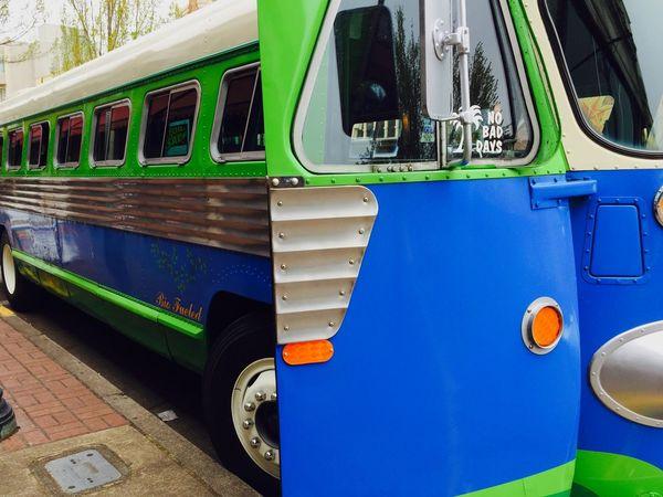What The Bus? Refurbished Blue Green Door Street