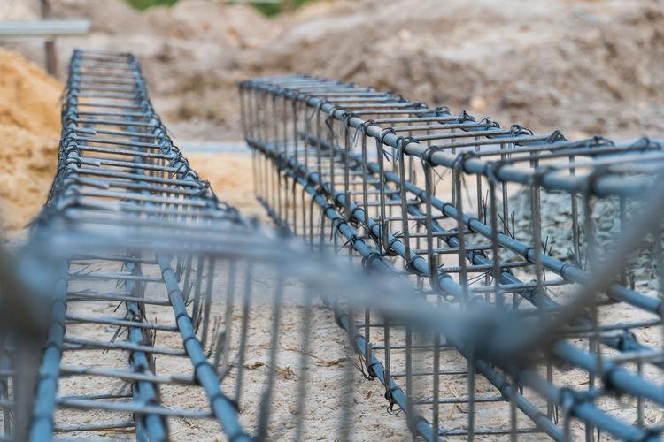 High angle view of metal fence