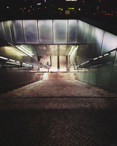Illuminated Architecture Built Structure Underpass Underground Walkway Underground Subway Platform Subway Station Tunnel