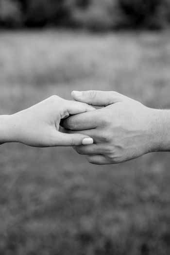 Close-up of couple holding hands against lawn