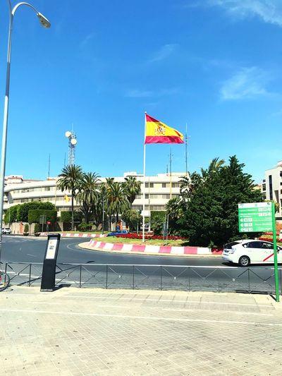 Rojo y gualda Garden Almería Iphone7 Flag Spain SPAIN Sky Nature Day Sunlight Patriotism Street Architecture Built Structure First Eyeem Photo