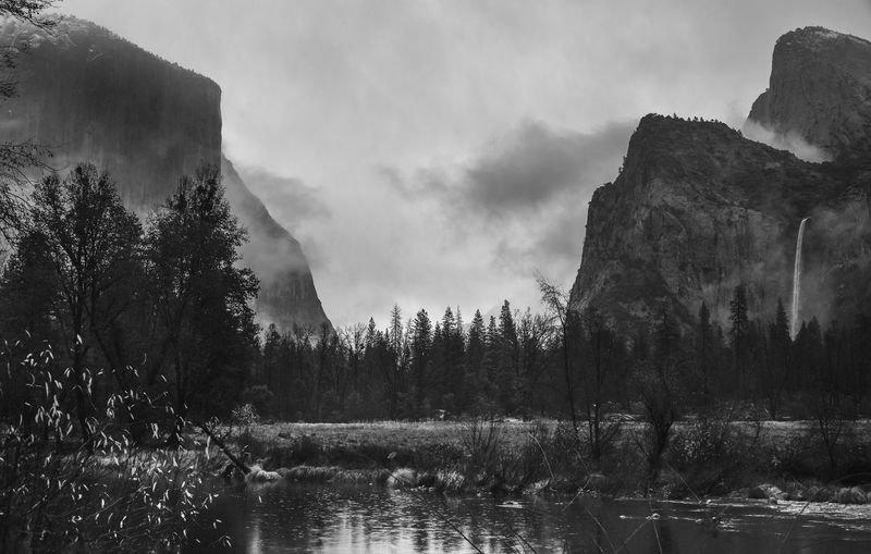 Yosemite national park, California winter background Tree Water Scenics - Nature Tranquil Scene Beauty In Nature Tranquility Plant Non-urban Scene Sky Lake Nature Cloud - Sky No People Mountain Forest Day Idyllic Environment Yosemite National Park Yosemite Winter Background Falls Colors