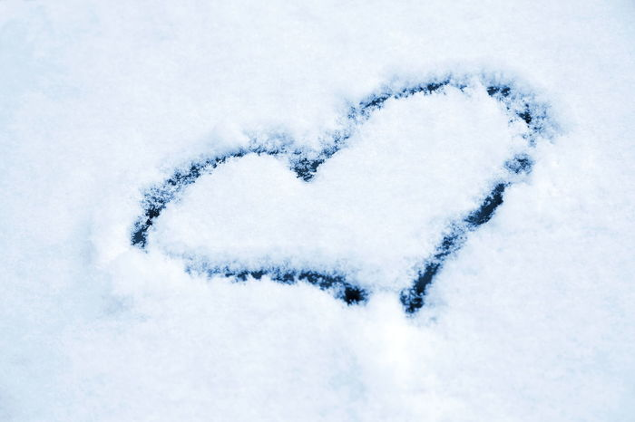 Blue Close-up Cold Temperature Day Heart Heart On Snow Love Monochrome Nature No People Outdoors Relationship Snow Winter