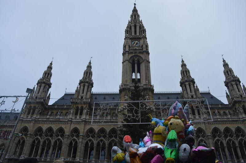 Architecture Balloons Combination Cultural Clash Cultures Famous Place History Mixture  Rathaus Tourism Tourist Travel Vienna