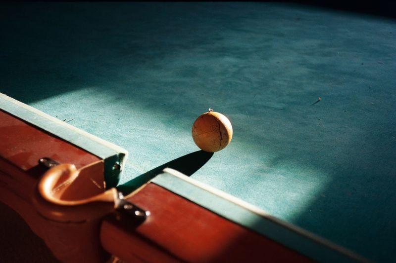 High angle view of pool ball on table