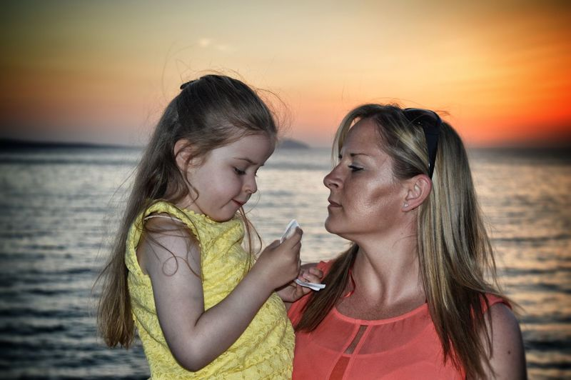 Daughter And Mother Ibiza Sunset Seaside