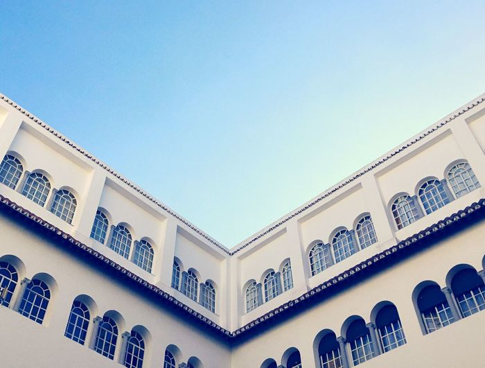 Geometric Shapes Tangier City Patio Courtyard  Andalucian Patio Blue Sky