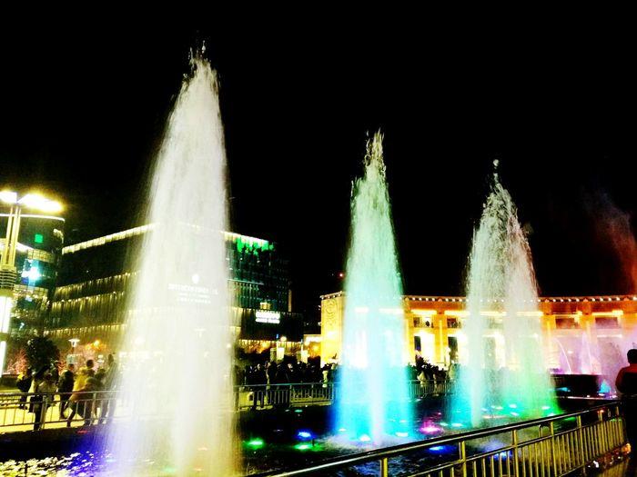 水管在开花Night Water Exploding Outdoors No People City Spraying Motion
