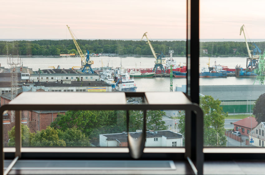 Evening in Klaipėda Lithuania Cranes Klaipeda Kursiumarios Lietuva Sea And Sky Seaport Ships⚓️⛵️🚢 Summer Viewthroughthewindow
