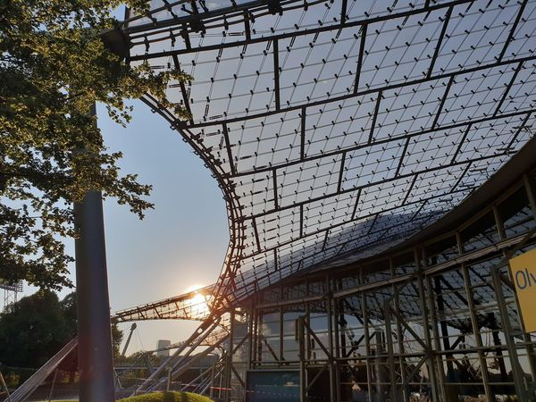 Olymipic Park Olympiastadion Olympic Stadium Architecture Architectural Column Architecture_collection Architectural Detail Metal Glass Sun Sunlight Sunlight And Shadow Tree City Sunset Sky Architecture Grid Crisscross Hexagon Honeycomb Brushed Metal Seamless Pattern Metal Grate Pixelated Building Geometric Shape Television Tower