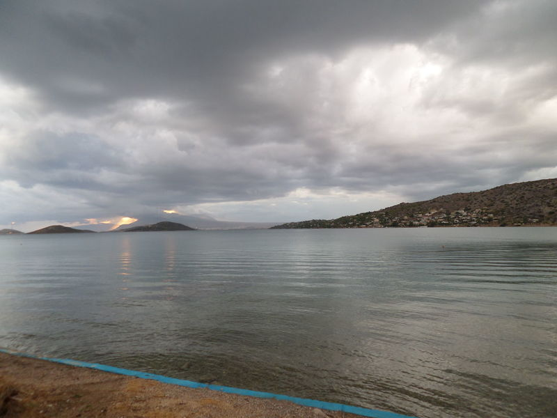 Sea No People Outdoors Mountain View Nature Landscape water Island Island Life Rainy Days Red Sky And Clouds Salamina Greece Be. Ready. Shades Of Winter