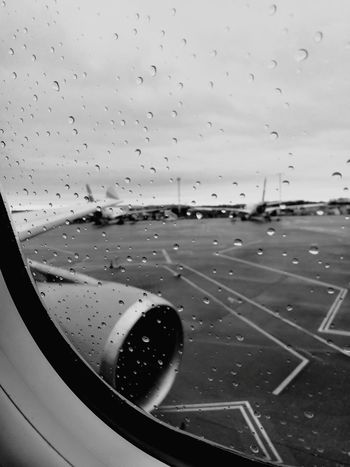 Transportation Airport Airplane Travel Window Airport Runway No People Day Sky Air Vehicle Close-up Outdoors Runway Passenger Boarding Bridge Rainy Day Rainy Window Say Goodbye Fly Away Goodbye Sad Day Sad Farewell Travel Discover Berlin