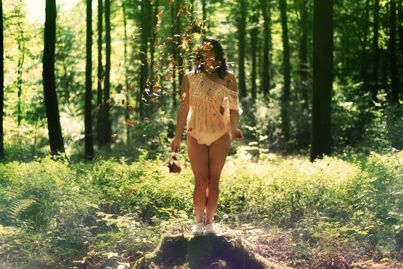 Foliage Forest WoodLand Standing Nature Women Portraits Portrait Of A Woman PortraitPhotography Women Of EyeEm Woman Portrait Womanportrait Beauty In Nature Myself Fine Art Photograhy Foliage Foliage, Vegetation, Plants, Green, Leaves, Leafage, Undergrowth, Underbrush, Plant Life, Flora