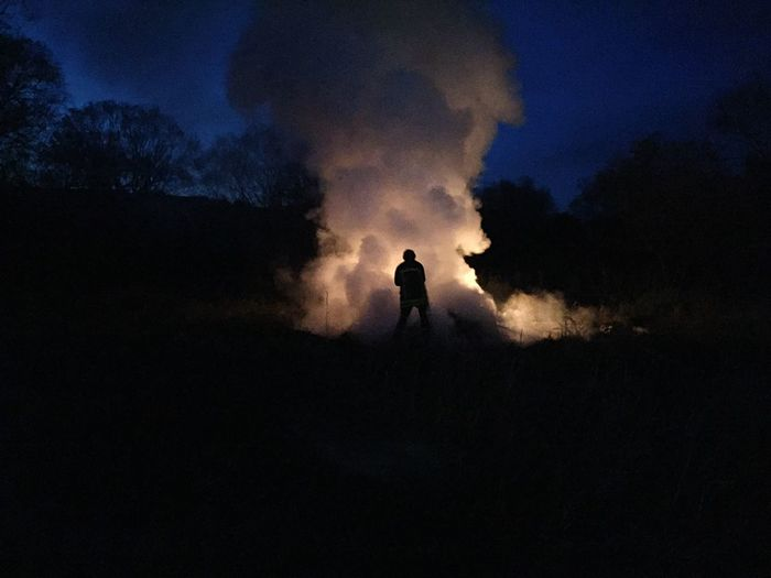 Soldat du feu 🔥 Nature One Person Night Outdoors People Light And Shadow Taking Photos Fire Fireman Working IPhoneography Landscape Summer