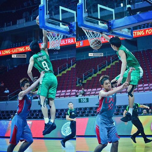 Ricci Rivero (@riccinsweetness) led CSB-LSGH Greenies to clinch the last spot of the most contested Final Four playoffs with career-high 40 points, 10 rebs, an assist, 2 stls, and 4 blks and this power slam in the last 5 minutes of 4Q🏀⚡🏆 . . . NCAA Ncaa91 Ncaaseason91 CSBvsLPU juniors csb benilde LSGH greenies onelasalle hoop ballers ballislife basketball themanansala
