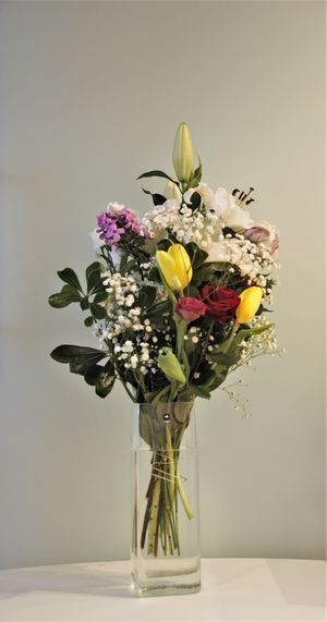 Copy Space Love Tulips Airtight Anniversary Beauty In Nature Bouquet Bouquet Of Flowers Close-up Day Flower Flower Arrangement Flower Head Fragility Freshness Gift Indoors  Nature No People Petal Present Roses Studio Shot Vase Yellow