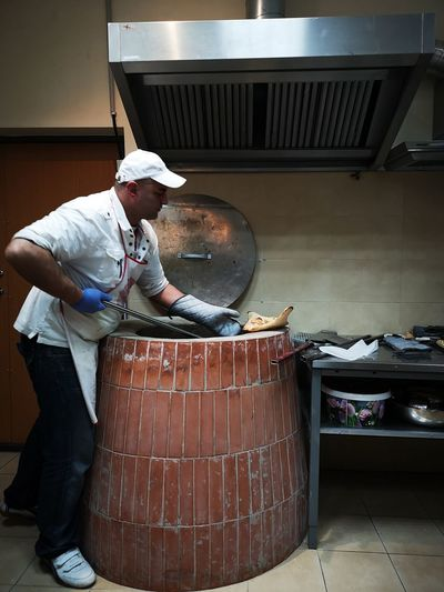 Georgian food in Klaipeda Butcher Working Men Occupation Protective Workwear Baker - Occupation Baking Bread Food And Drink Establishment Chef's Hat Chef Baking Sheet Food Service Occupation Loaf Of Bread Flour Chef's Whites Bakery Artisanal Food And Drink