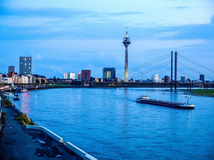 River Rhine (Rhein) in Duesseldorf City Duesseldorf Düsseldorf Düsseldorf-Walk Germany Rhein Rhine Rhine River River Skyline Town Urban Water