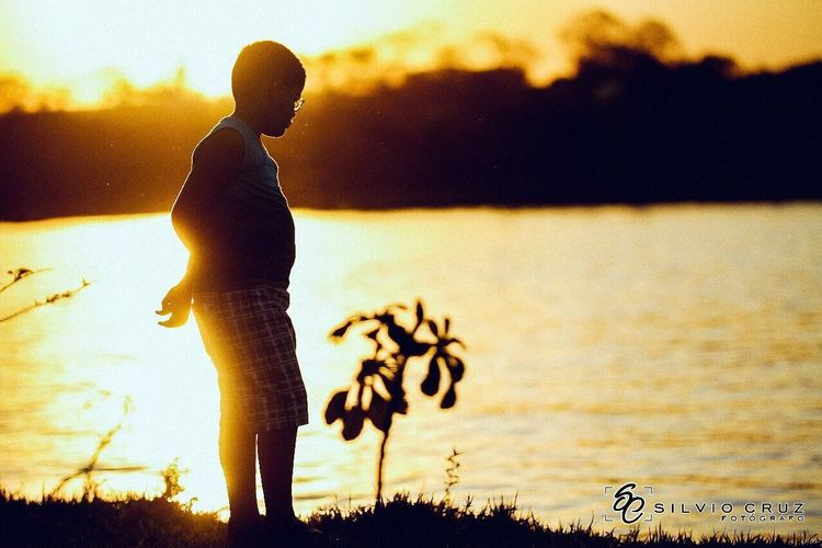 Sunset.... Sunset Real People Silhouette One Person Rear View Lifestyles Nature Leisure Activity Standing Full Length Sky Beauty In Nature Water Lake