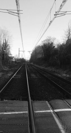 Railroad Track Outdoors No People Tree Day Electricity Pylon Sky Eye4photography  Eye For Photography Hello World EyeEm Best Shots EyeEm Gallery Check This Out EyeEmBestPics Eyeemphotography Tranquility Power Line  Cable Electricity  Power Supply Power Line