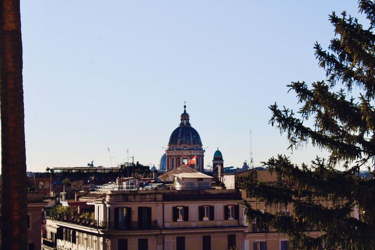 View of rome city center dome of a church in vatican city