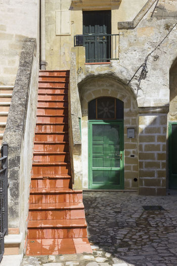 Matera Italy Basilicata South Italy Nobody UNESCO World Heritage Site House Architecture Built Structure Building Exterior Building Staircase Door Entrance Window Day No People Residential District Steps And Staircases Old Arch Outdoors Wall Railing City Nature