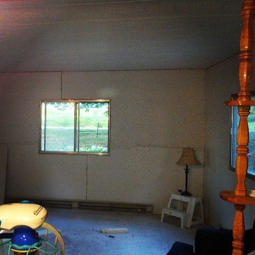 Job well done ! Drywall Work Sisterslivingroom Hanging Brittany toolsused exactoknife measuringtape