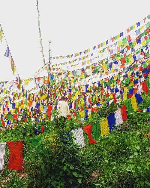 Multi Colored Hanging Celebration Cultures Outdoors Day Flag No People Sky Horizontal Travel India Tibetan Monks Tibetan  Tibet Religious  Religion Monk  Tibetan Buddhism Tibetan Prayer Flags Mountain Himalayas